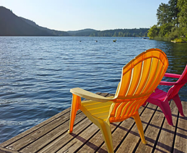Photo of two chairs on a dock